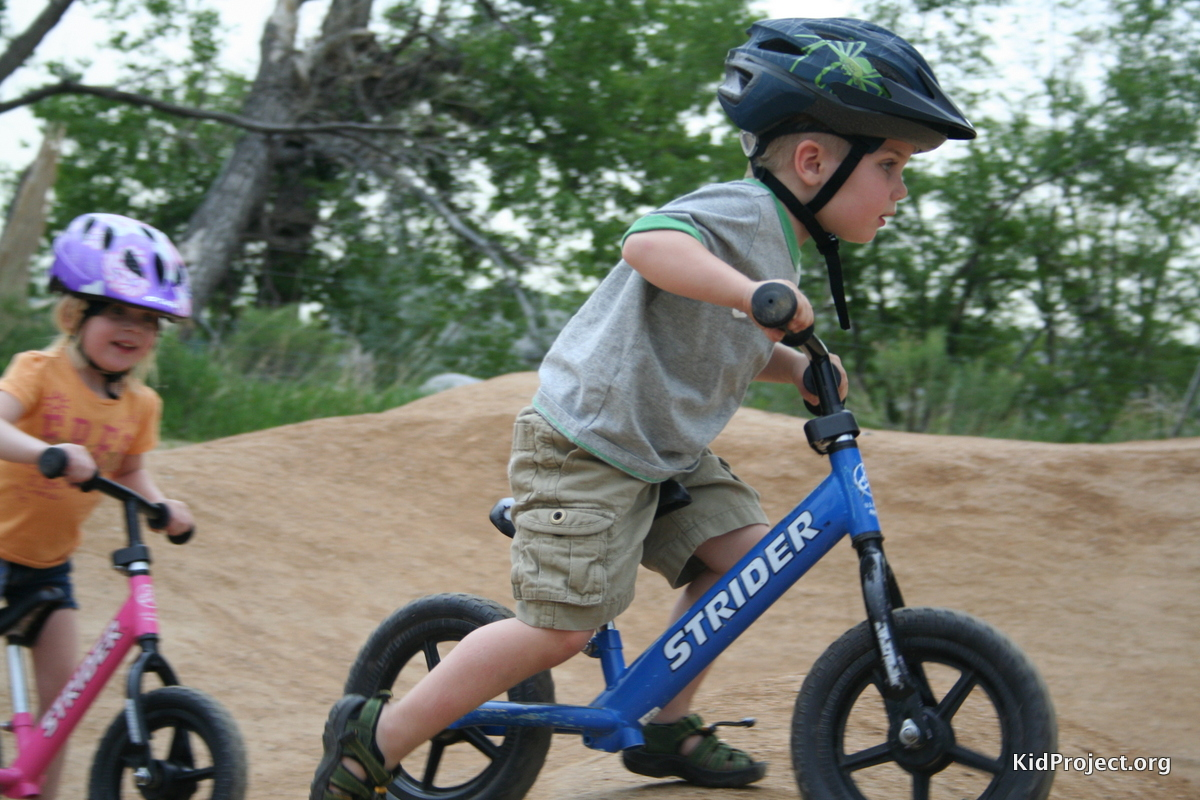 Strider bikes at the pump track