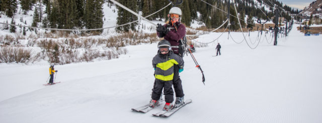 rope tow with kids or beginner skiers