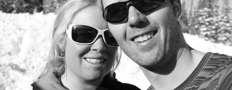 enjoying skiing with my husband