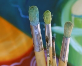 Green Crafting paint brushes