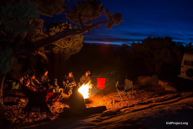 campfire in Moab Ut