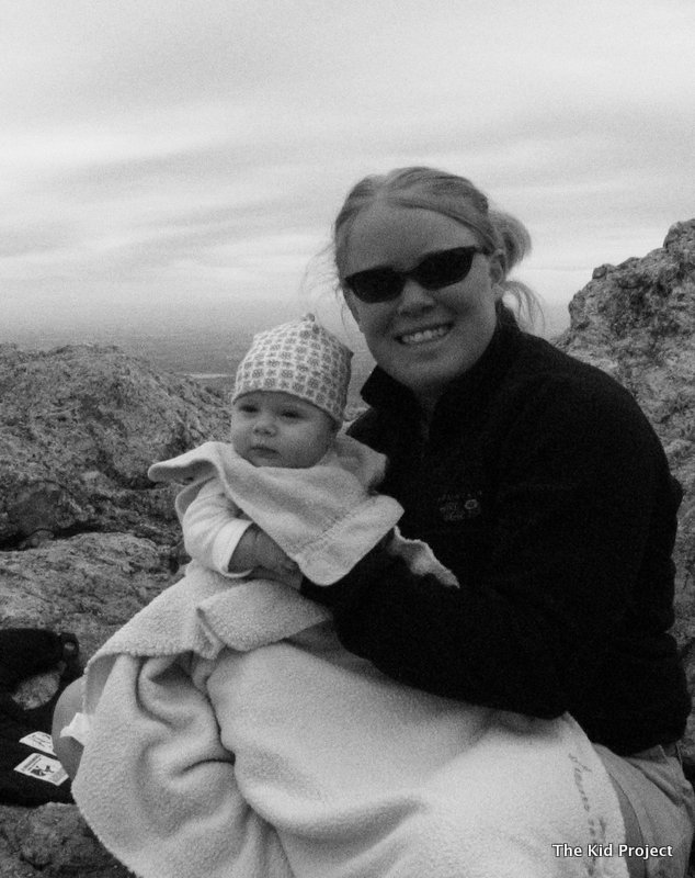 baby hiking, nursing