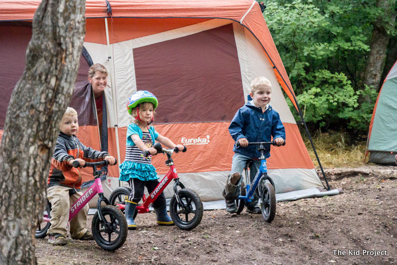 Strider bikes while camping