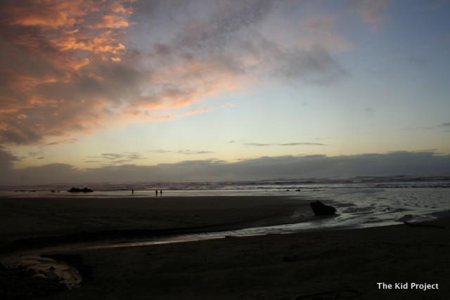 walking the beach in Oregon