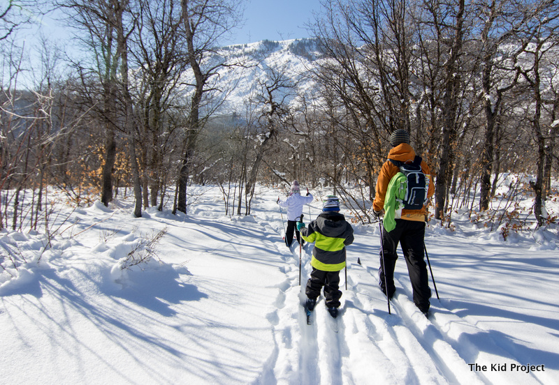 Dad and boy skiing together