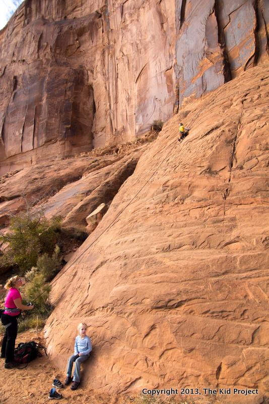 Kids climbing Moab UT