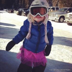 skiing in a tutu