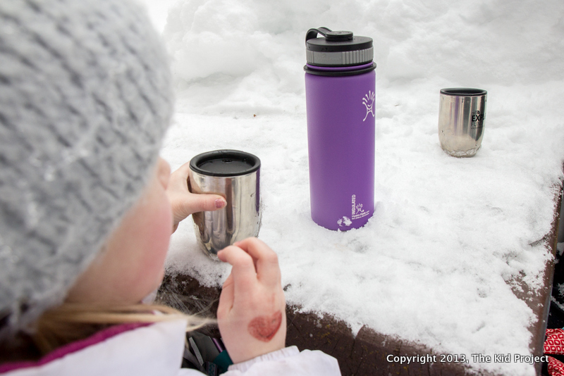 Using a hydroflask to keep hot chocolate warm, snowshoeing