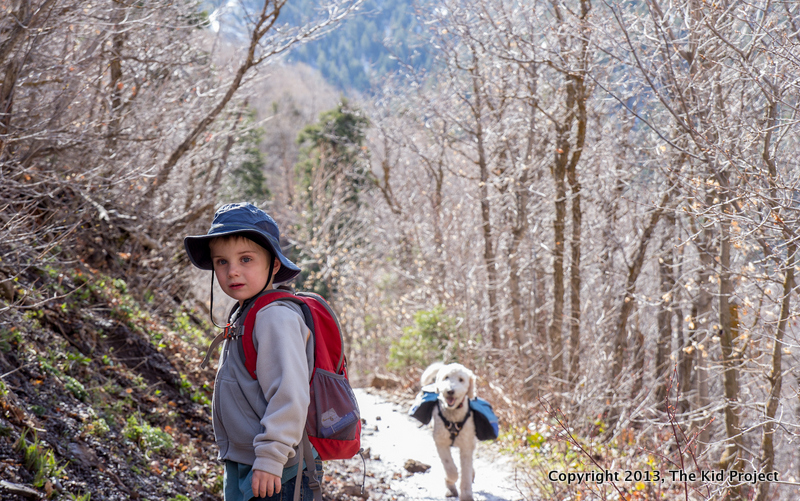 Boy and Dog hiking, Pipeline Trail, Millcreek
