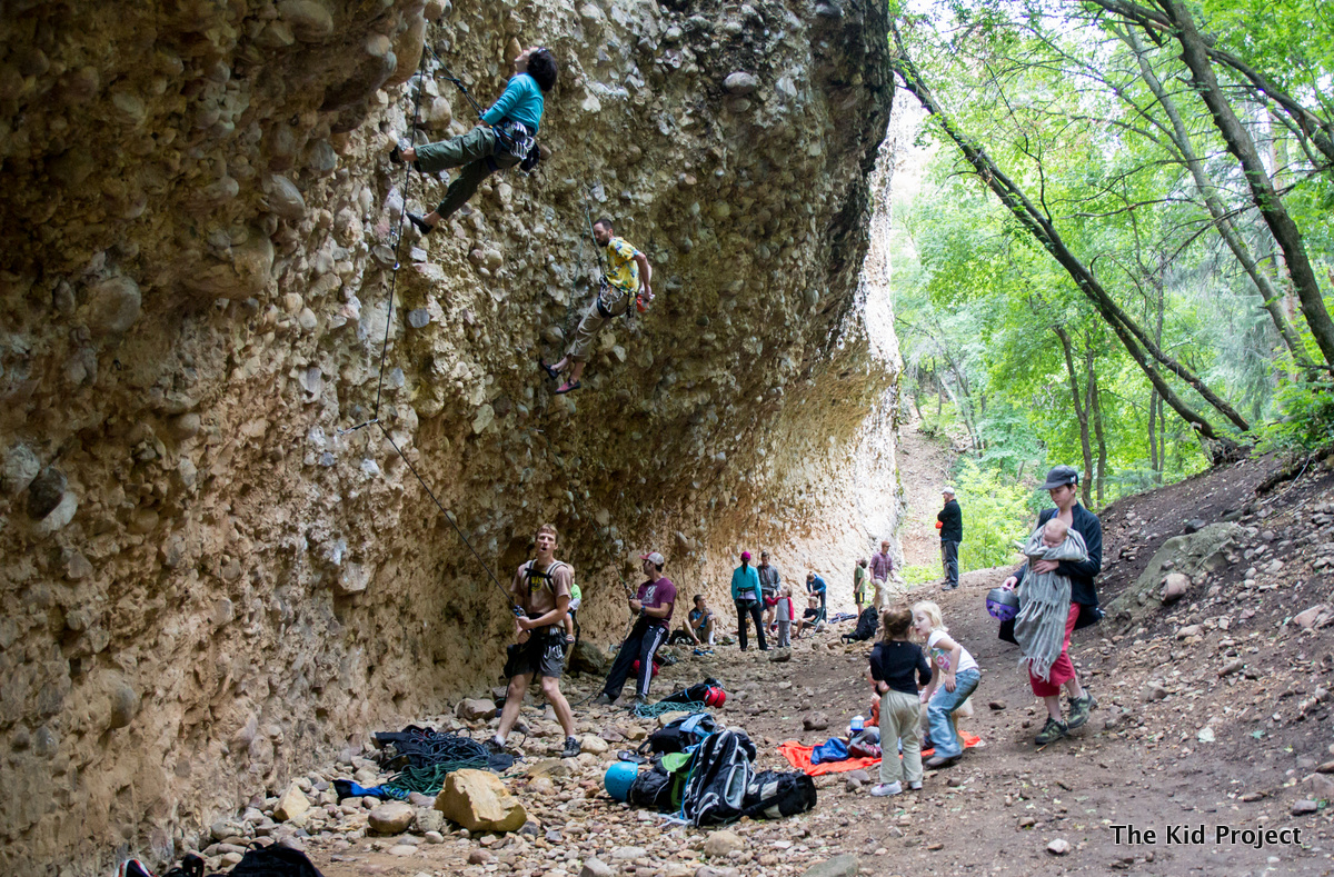 Kids at the crag, maple canyon