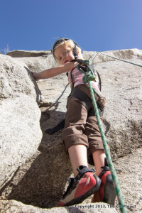 3 yr old climbing - kid friendly crag Lisa Falls