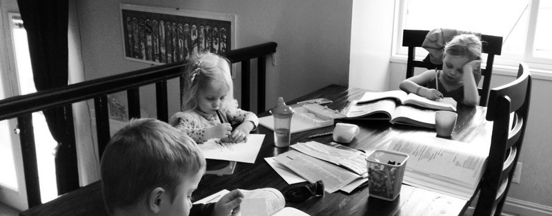 homeschooling at table