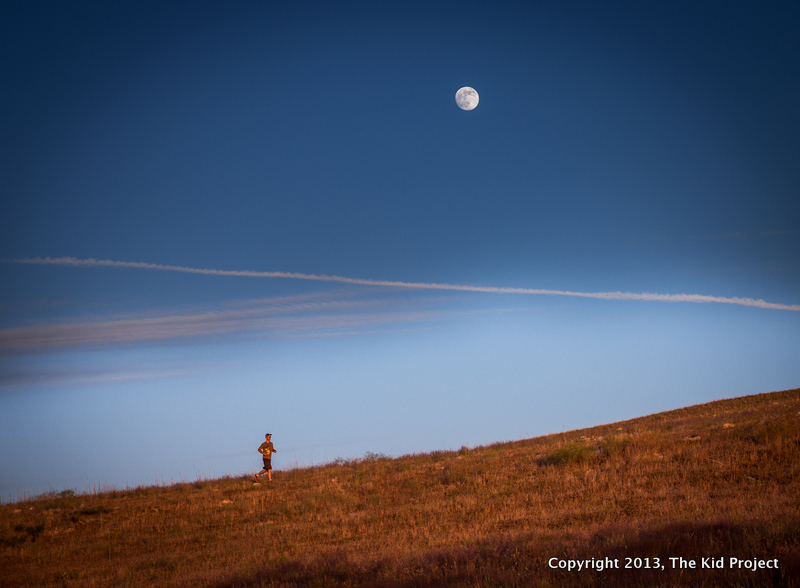 trail running under super moon
