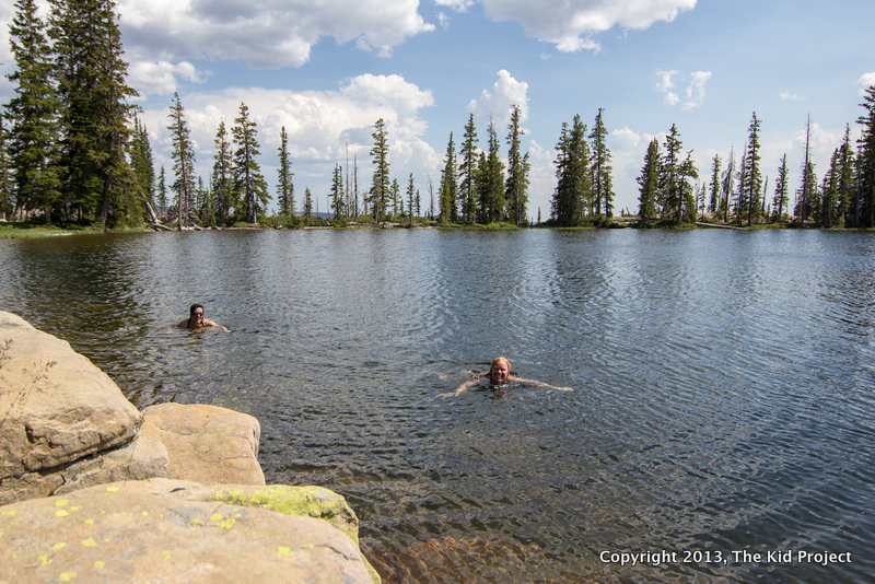 swimming in high alpine lake