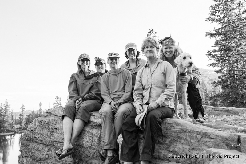 group of women backpacking