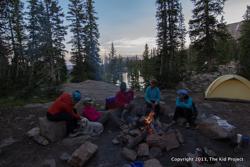 campfire, campsite at Twin Lakes, Uintas