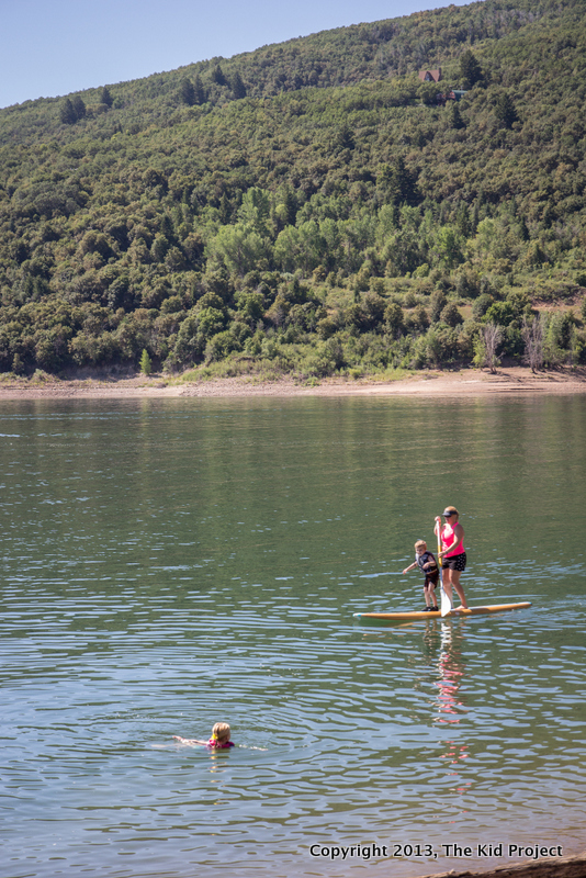 Teaching kids to balance on a paddleboard