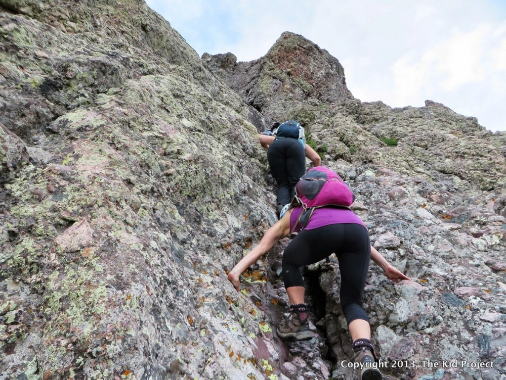 RE-ascending a gully on Crestone Needle