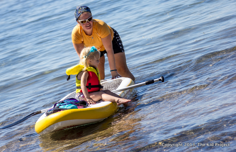 Paddleboarding with toddler