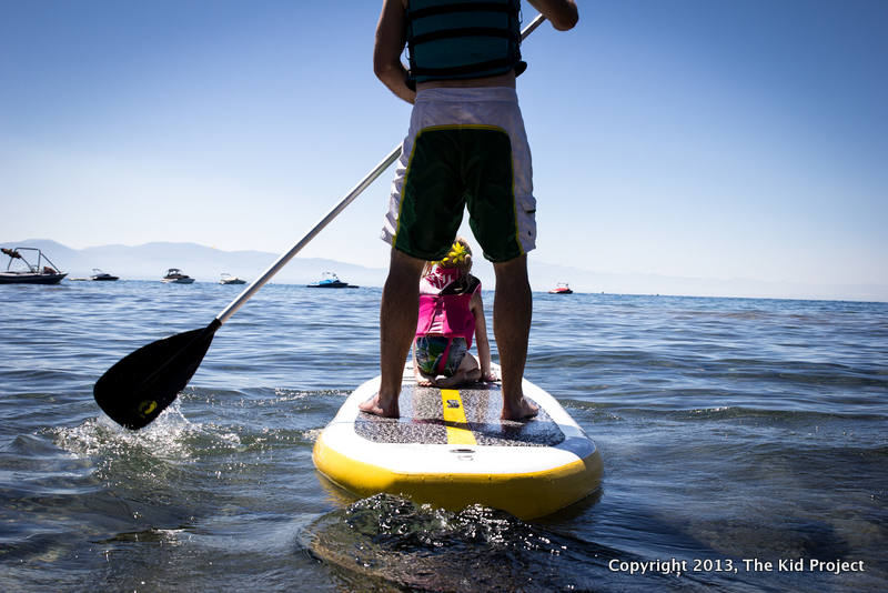 dad and daughter SUP on Lake Tahoe