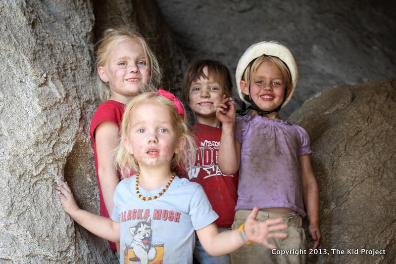dirty kids playing outside