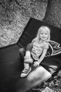 Girl on crash pad