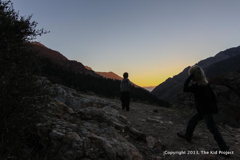 Hiking into the sunset, Big Cottonwood Canyon, UT
