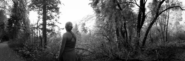 Being a dirtbag mommy/ hiking in forest [BW]