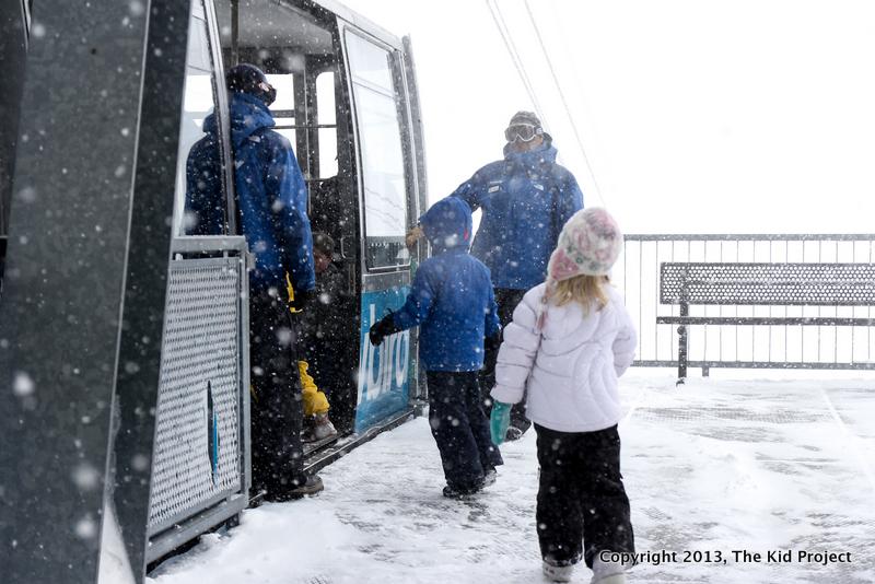 Entering the tram at the top of Hidden Peak, UT