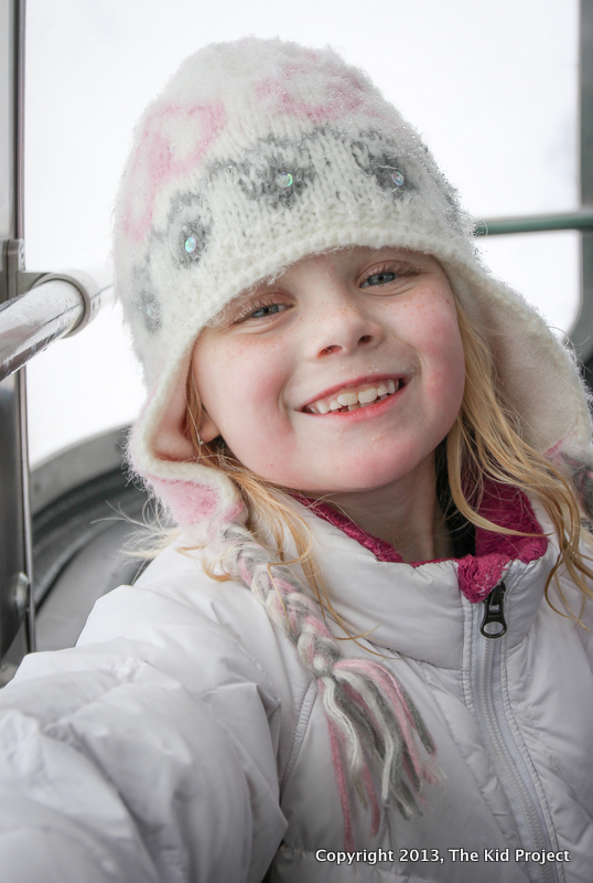 Kids riding the tram at Snowbird