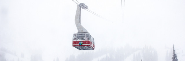 Snowbird Resort tram heading into the storm