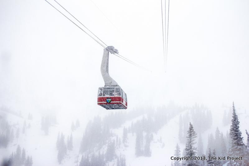 Snowbird Resort tram heading into the storm