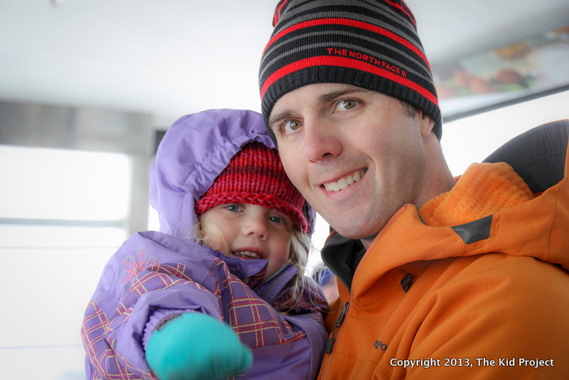 Dad and daughter on a tram ride