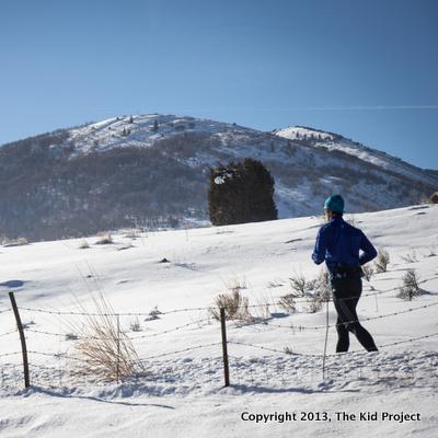 Winter running near park city