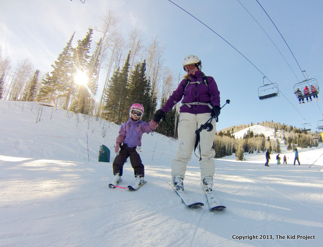 Skiing the meadows with our beginner skier