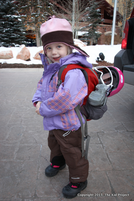 toddler with all her ski gear!