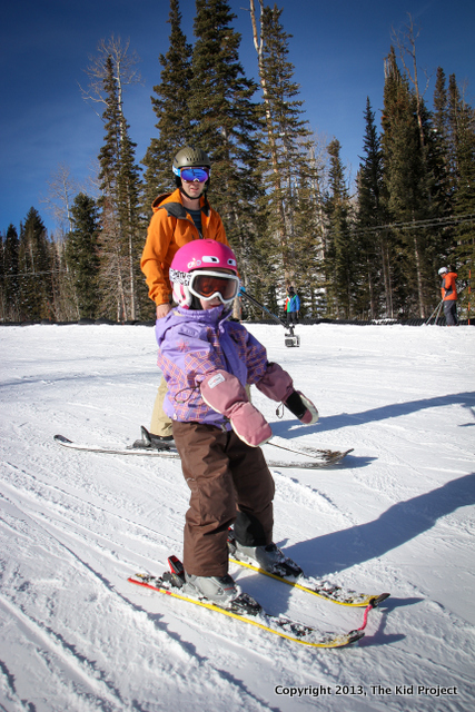 Toddler learning to ski