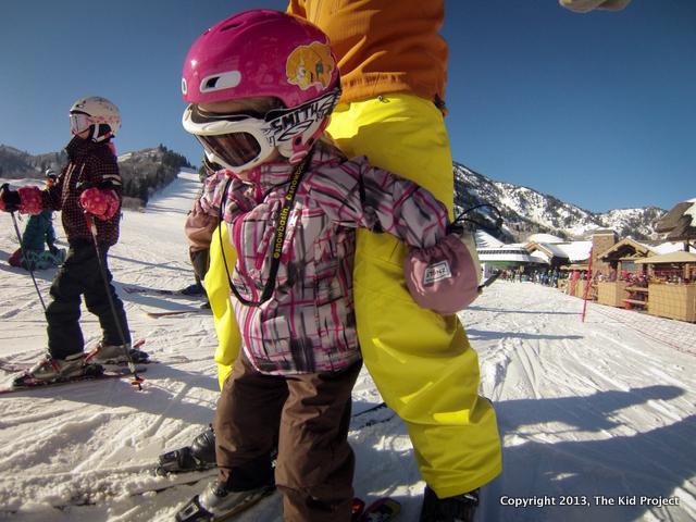 Toddler skiing at Snowbasin Resort
