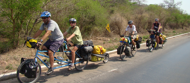 family on bikes in bolivia