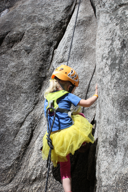 Yellow tutu goes climbing in Yosemite