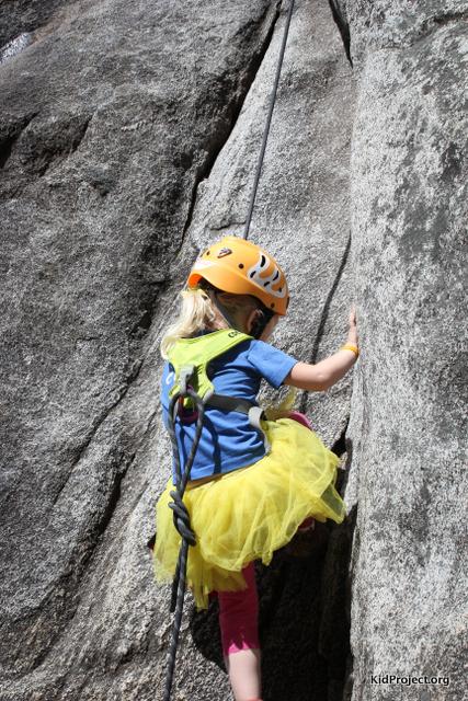 Yellow tutu goes climbing in Yosemite