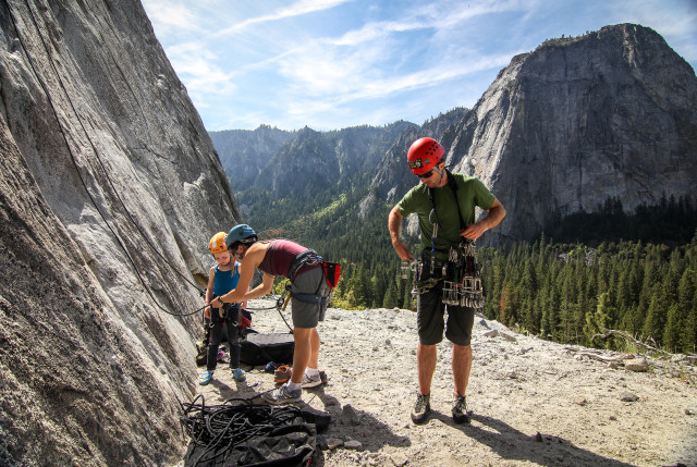 Climbing in Yosemite with the Catheral behind us