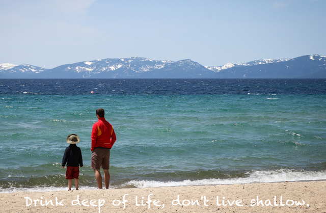 DAd ans son on the shores of Lake Tahoe, live purposefully