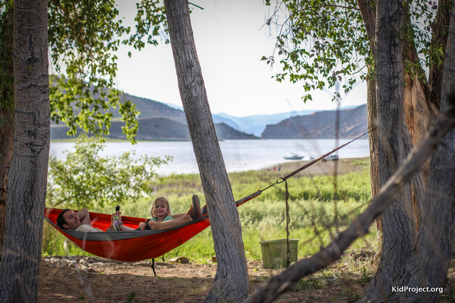 Hammock relaxing at Echo Reservoir, Utah