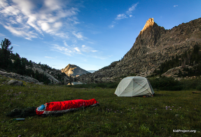 Camping at North Lake, backing Wind River Range