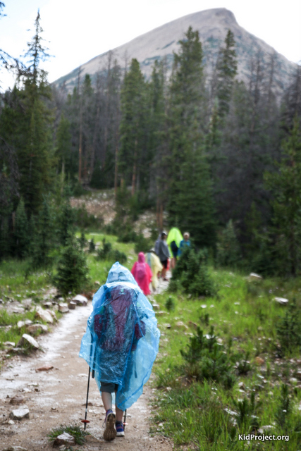 Hiking to Wall Lake in rain, Uinta Range