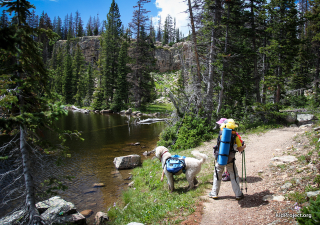 Kids and dog backpacking in high uintas