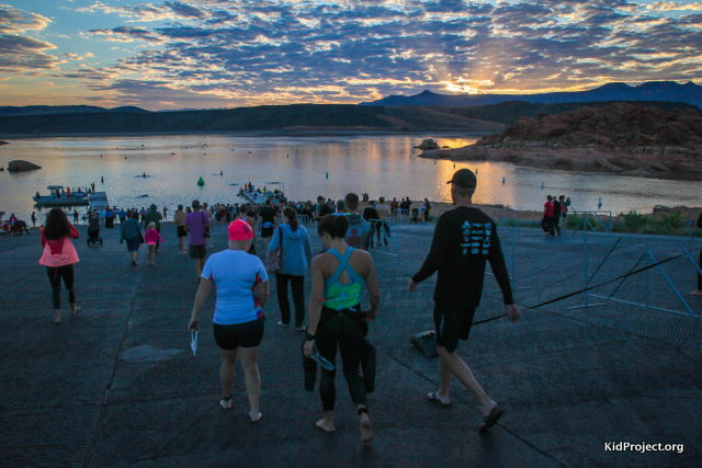 Sunrise over Kokopelli triathlon in Sand Hollow SP, Utah