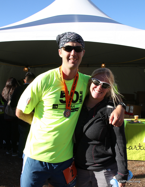 Loving the Amelia hoodie and my husband at the finish of his first 50 mile race.
