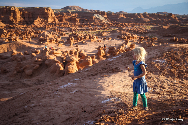 Overlooking Goblin Valley at sunset